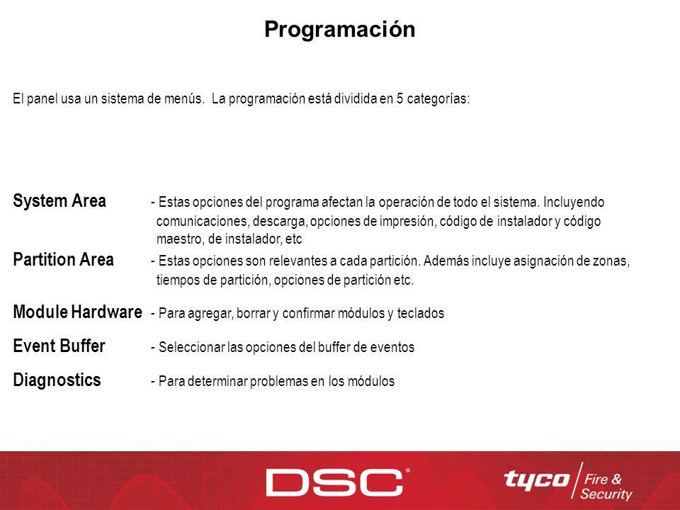 Programación El panel usa un sistema de menús. La programación está dividida en 5 categorías: System Area - Estas opciones del programa afectan la ope