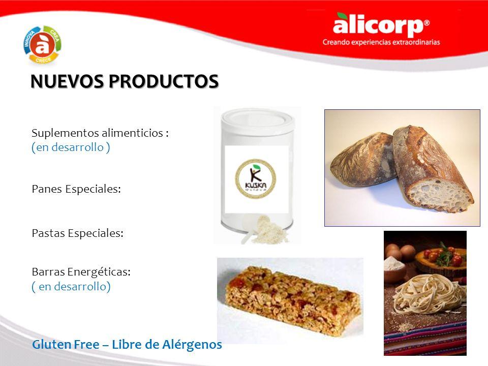 NUEVOS PRODUCTOS Suplementos alimenticios : (en desarrollo ) Panes Especiales: Pastas Especiales: Barras Energéticas: ( en desarrollo) Gluten Free – L