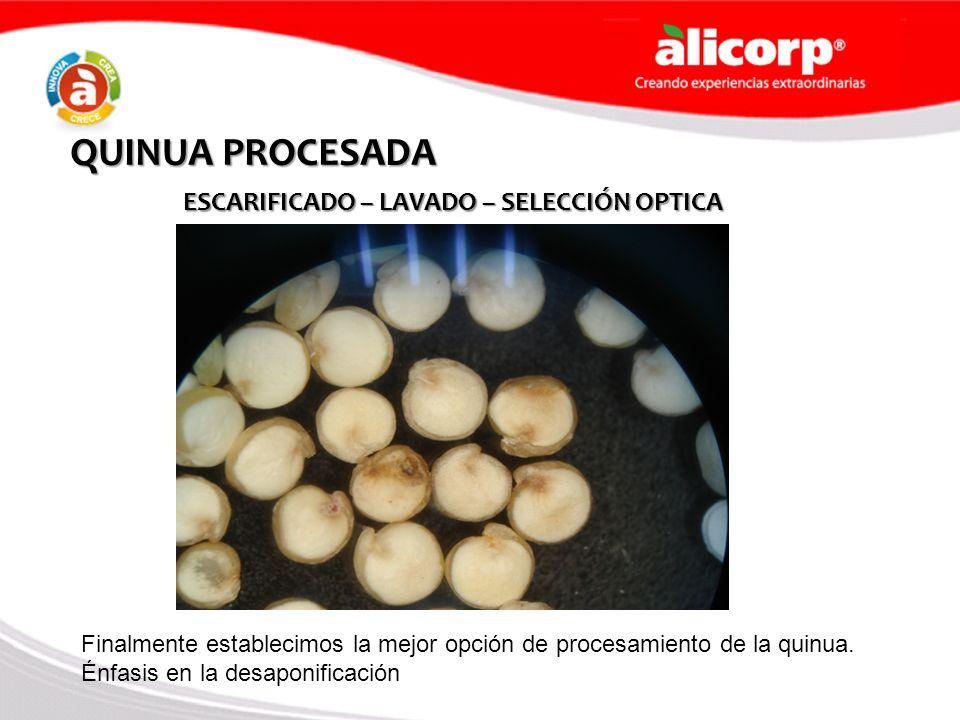 QUINUA PROCESADA ESCARIFICADO – LAVADO – SELECCIÓN OPTICA Finalmente establecimos la mejor opción de procesamiento de la quinua. Énfasis en la desapon