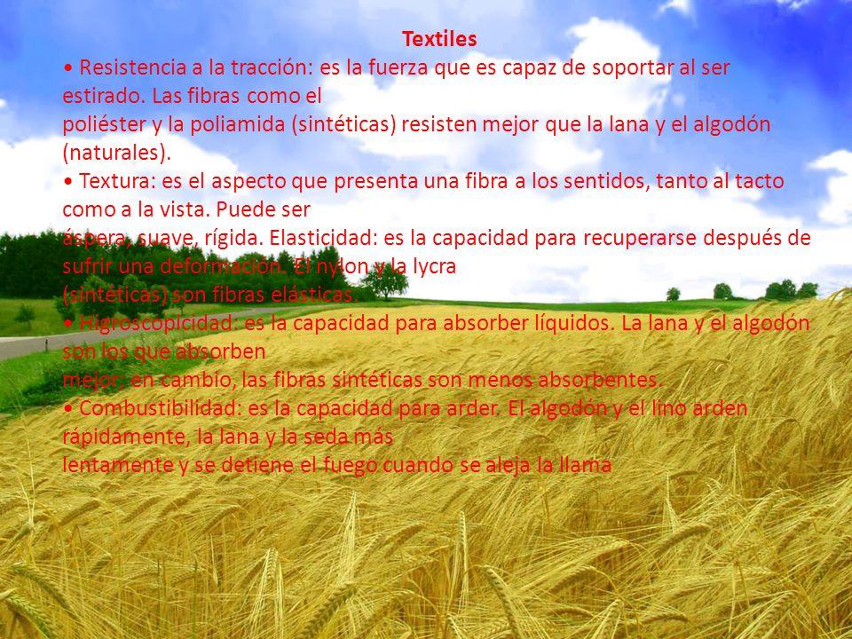 Textiles Resistencia a la tracción: es la fuerza que es capaz de soportar al ser estirado.