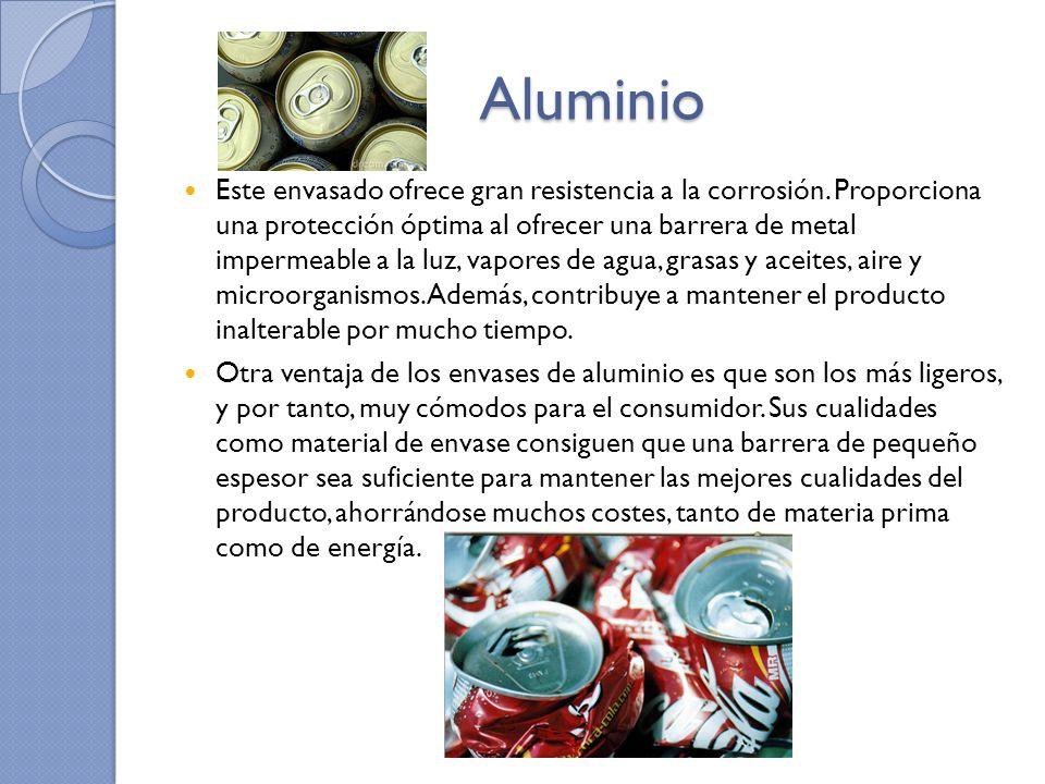 Aluminio Este envasado ofrece gran resistencia a la corrosión. Proporciona una protección óptima al ofrecer una barrera de metal impermeable a la luz,