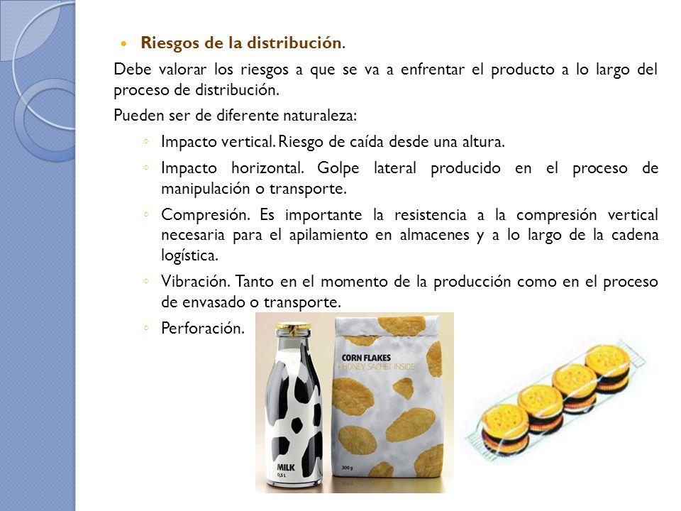 Riesgos de la distribución. Debe valorar los riesgos a que se va a enfrentar el producto a lo largo del proceso de distribución. Pueden ser de diferen