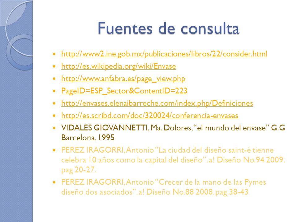 Fuentes de consulta http://www2.ine.gob.mx/publicaciones/libros/22/consider.html http://es.wikipedia.org/wiki/Envase http://www.anfabra.es/page_view.p