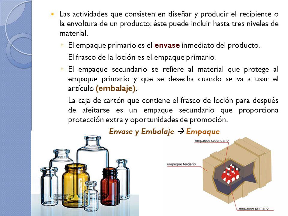 Las actividades que consisten en diseñar y producir el recipiente o la envoltura de un producto; éste puede incluir hasta tres niveles de material. El