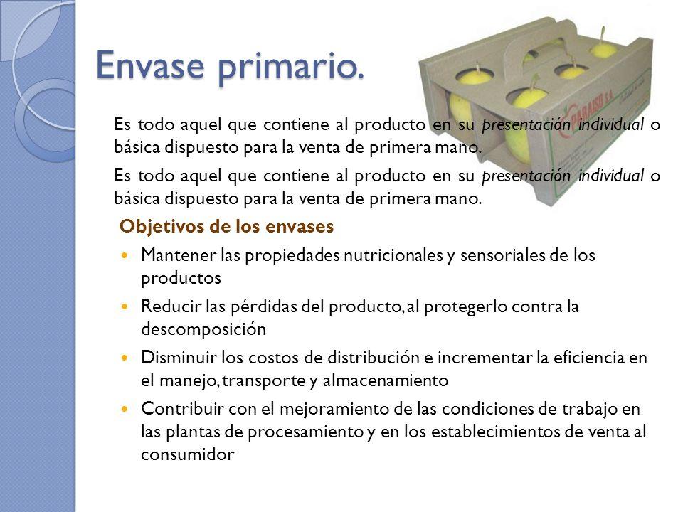 Envase primario. Es todo aquel que contiene al producto en su presentación individual o básica dispuesto para la venta de primera mano. Objetivos de l