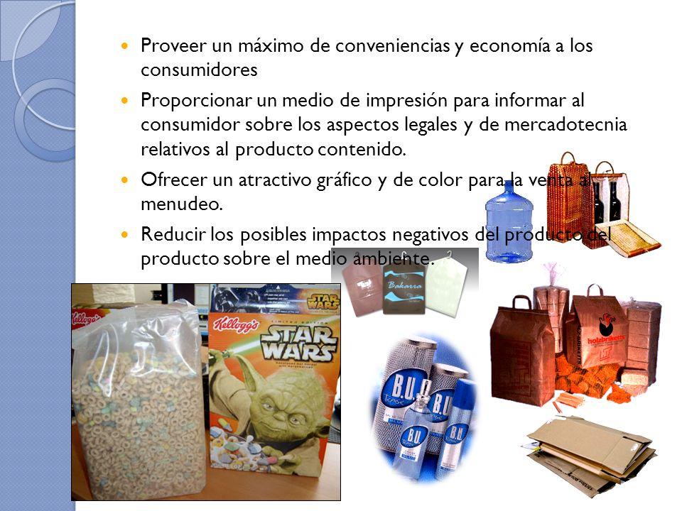 Proveer un máximo de conveniencias y economía a los consumidores Proporcionar un medio de impresión para informar al consumidor sobre los aspectos leg
