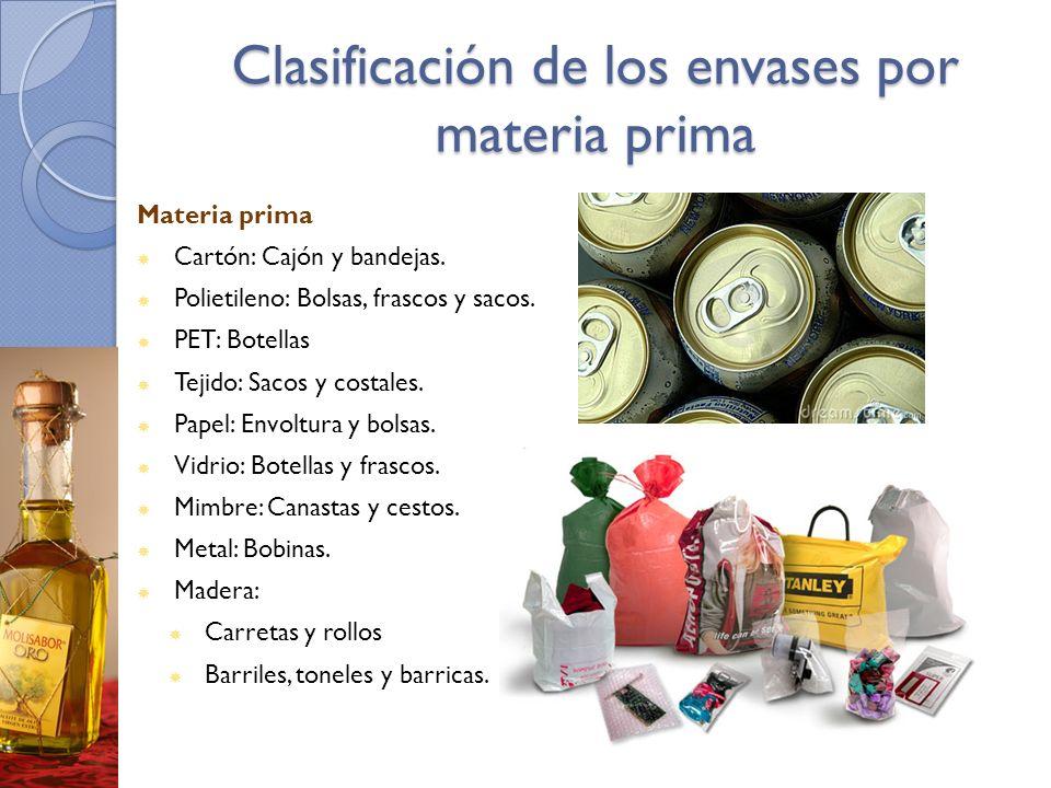 Clasificación de los envases por materia prima Materia prima Cartón: Cajón y bandejas. Polietileno: Bolsas, frascos y sacos. PET: Botellas Tejido: Sac