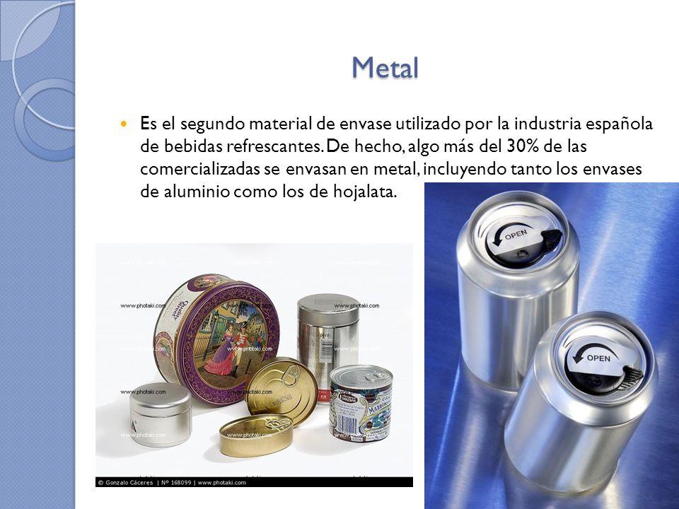 Vidrio Este material alcanza casi el 15% del volumen total de producto envasado.