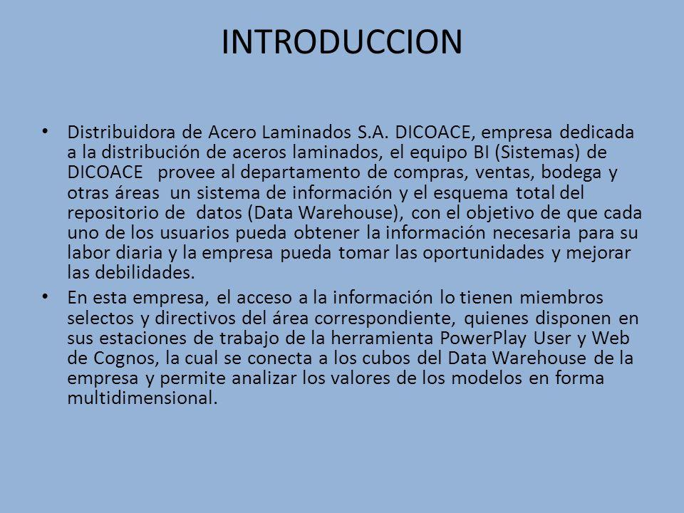 INTRODUCCION Distribuidora de Acero Laminados S.A. DICOACE, empresa dedicada a la distribución de aceros laminados, el equipo BI (Sistemas) de DICOACE