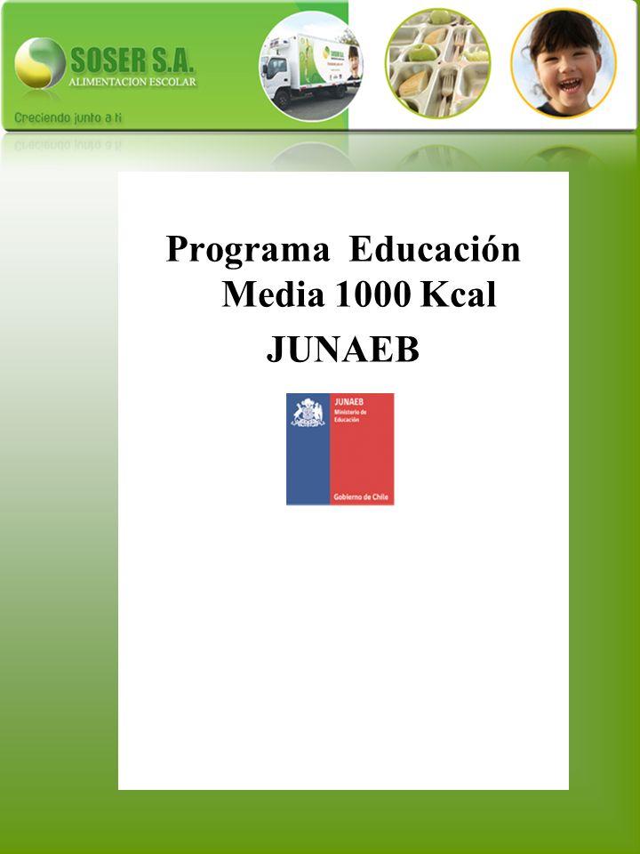 Programa Educación Media 1000 Kcal JUNAEB
