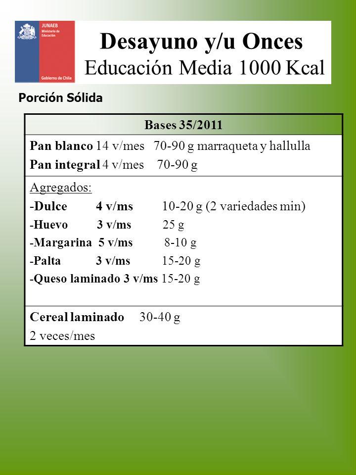Desayuno y/u Onces Educación Media 1000 Kcal Porción Sólida Bases 35/2011 Pan blanco 14 v/mes 70-90 g marraqueta y hallulla Pan integral 4 v/mes 70-90
