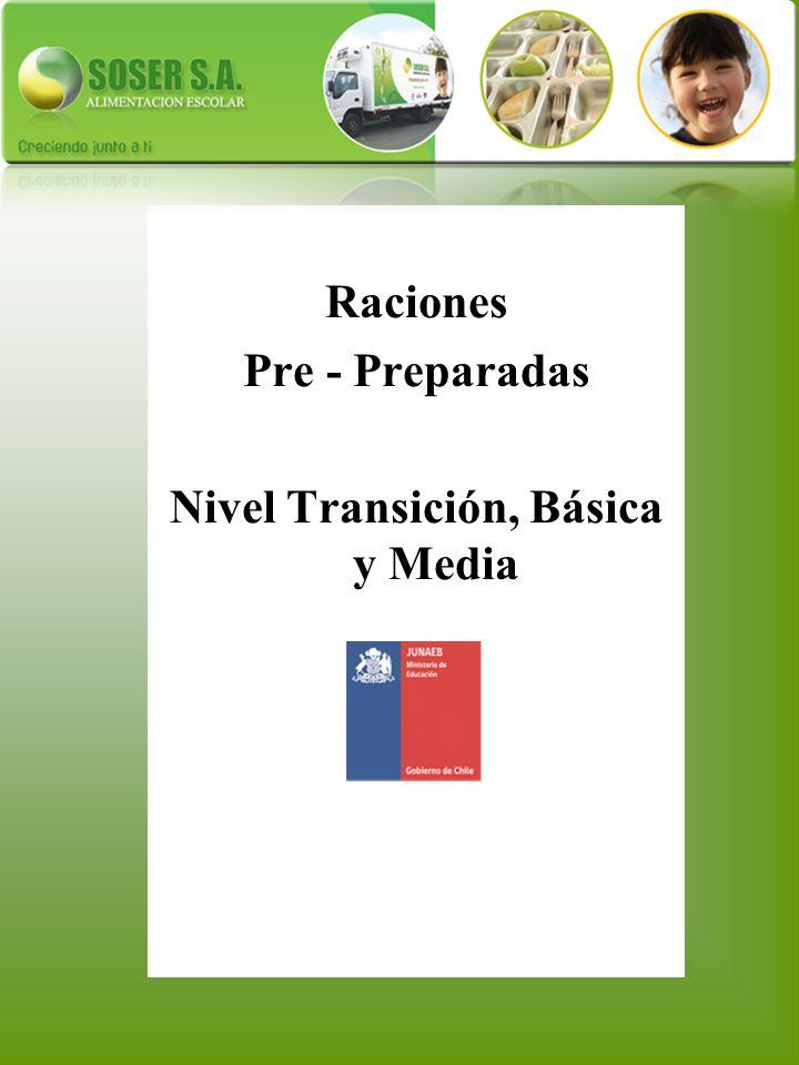 Raciones Pre - Preparadas Nivel Transición, Básica y Media