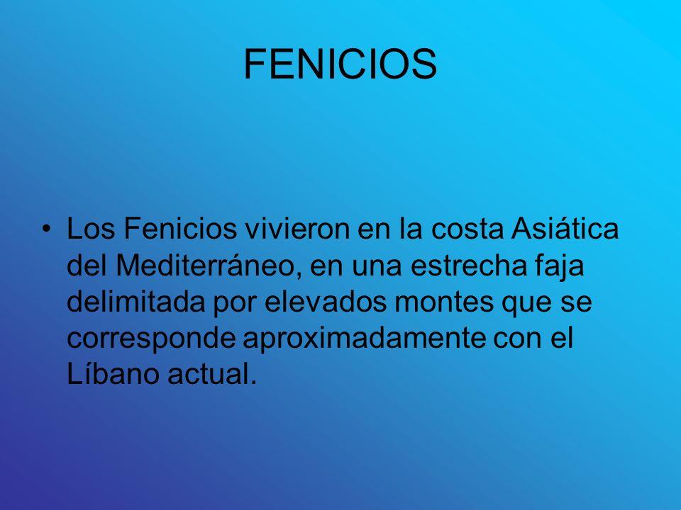 FENICIOS Los Fenicios vivieron en la costa Asiática del Mediterráneo, en una estrecha faja delimitada por elevados montes que se corresponde aproximad