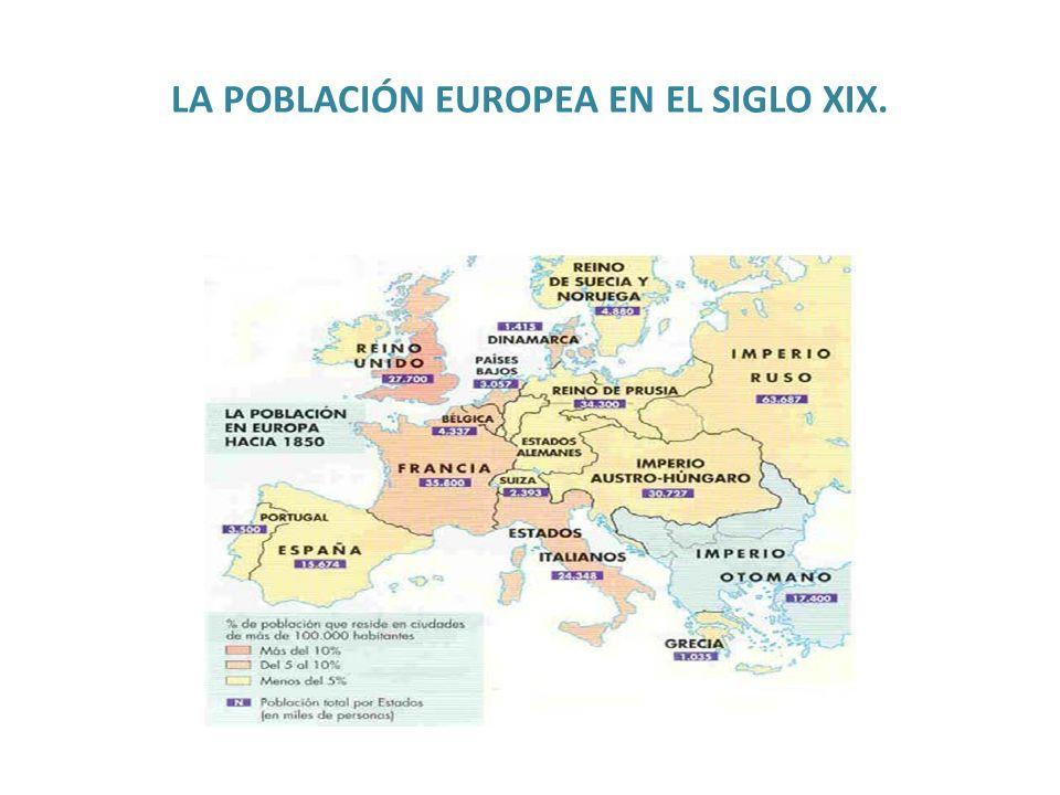 LA POBLACIÓN EUROPEA EN EL SIGLO XIX.