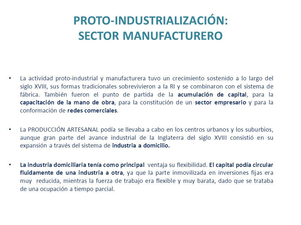 PROTO-INDUSTRIALIZACIÓN: SECTOR MANUFACTURERO La actividad proto-industrial y manufacturera tuvo un crecimiento sostenido a lo largo del siglo XVIII,