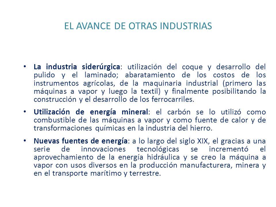 EL AVANCE DE OTRAS INDUSTRIAS La industria siderúrgica: utilización del coque y desarrollo del pulido y el laminado; abaratamiento de los costos de lo
