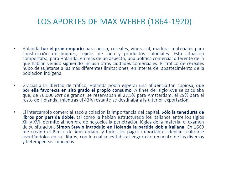 LOS APORTES DE MAX WEBER (1864-1920) Holanda fue el gran emporio para pesca, cereales, vinos, sal, madera, materiales para construcción de buques, tej