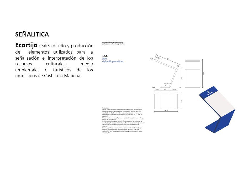 SEÑALITICA Ecortijo realiza diseño y producción de elementos utilizados para la señalización e interpretación de los recursos culturales, medio ambientales o turísticos de los municipios de Castilla la Mancha.