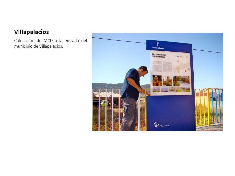 Villapalacios Colocación de MCD a la entrada del municipio de Villapalacios.