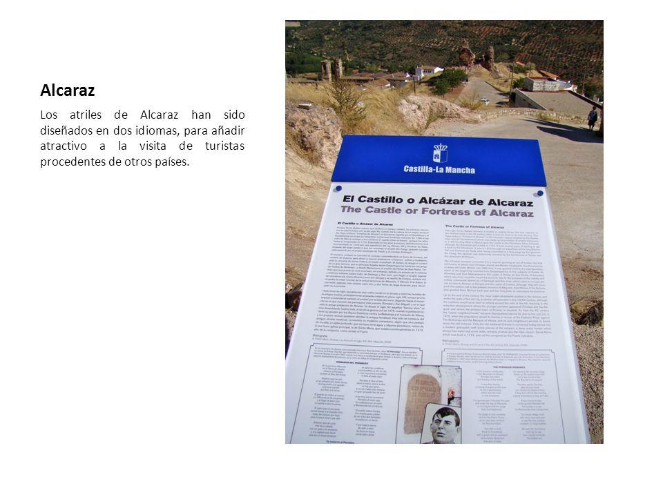 Alcaraz Los atriles de Alcaraz han sido diseñados en dos idiomas, para añadir atractivo a la visita de turistas procedentes de otros países.