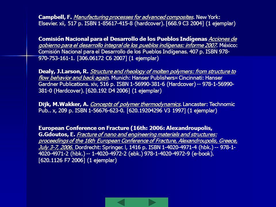 Mai, Y.Yu, Z. Polymer nanocomposites. Cambridge: Woodhead on behalf of the Institute of Materials, MineralsMining. xviii, 594 p. ISBN 978-1-85573-969-