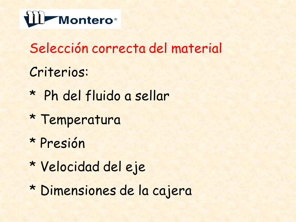 Selección correcta del material Criterios: * Ph del fluido a sellar * Temperatura * Presión * Velocidad del eje * Dimensiones de la cajera