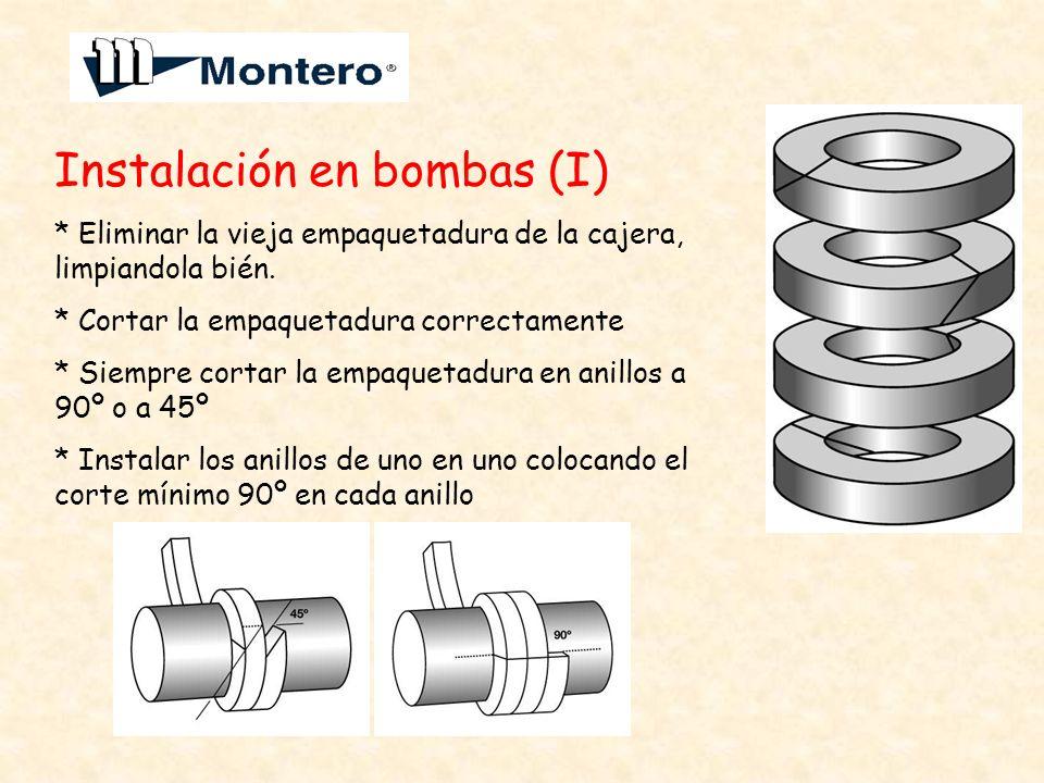 Instalación en bombas (I) * Eliminar la vieja empaquetadura de la cajera, limpiandola bién. * Cortar la empaquetadura correctamente * Siempre cortar l