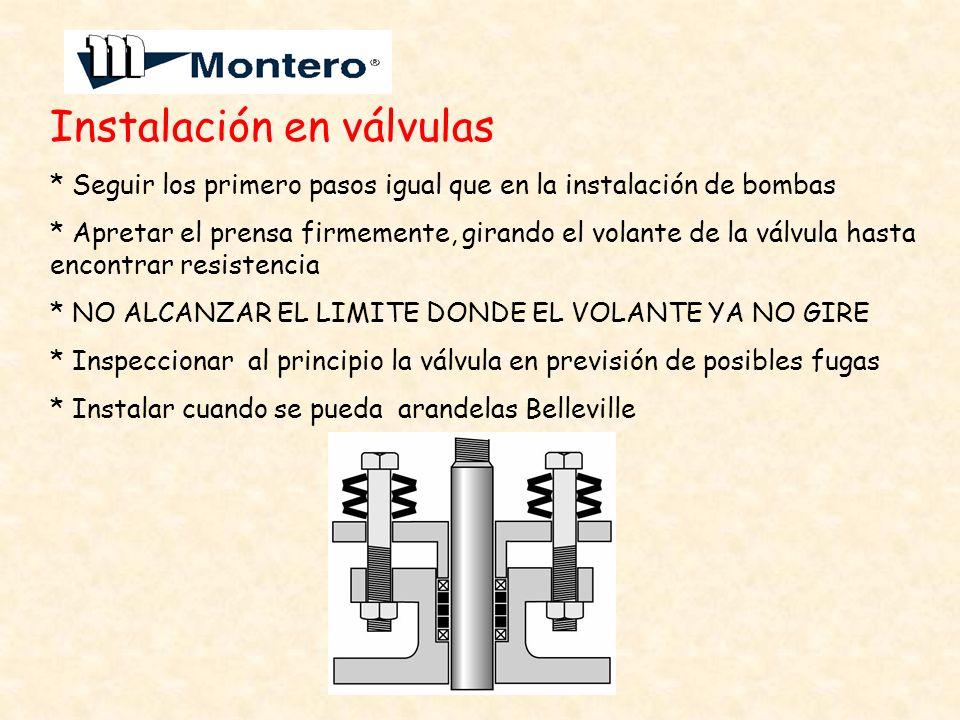 Instalación en válvulas * Seguir los primero pasos igual que en la instalación de bombas * Apretar el prensa firmemente, girando el volante de la válv