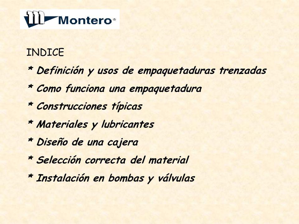 INDICE * Definición y usos de empaquetaduras trenzadas * Como funciona una empaquetadura * Construcciones típicas * Materiales y lubricantes * Diseño