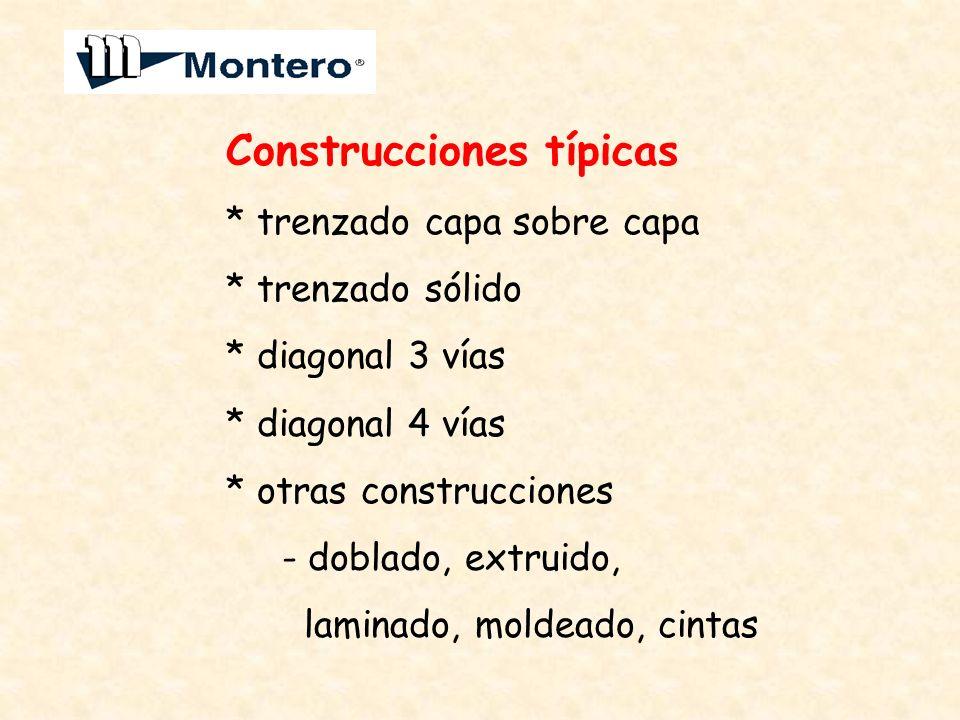 Construcciones típicas * trenzado capa sobre capa * trenzado sólido * diagonal 3 vías * diagonal 4 vías * otras construcciones - doblado, extruido, la