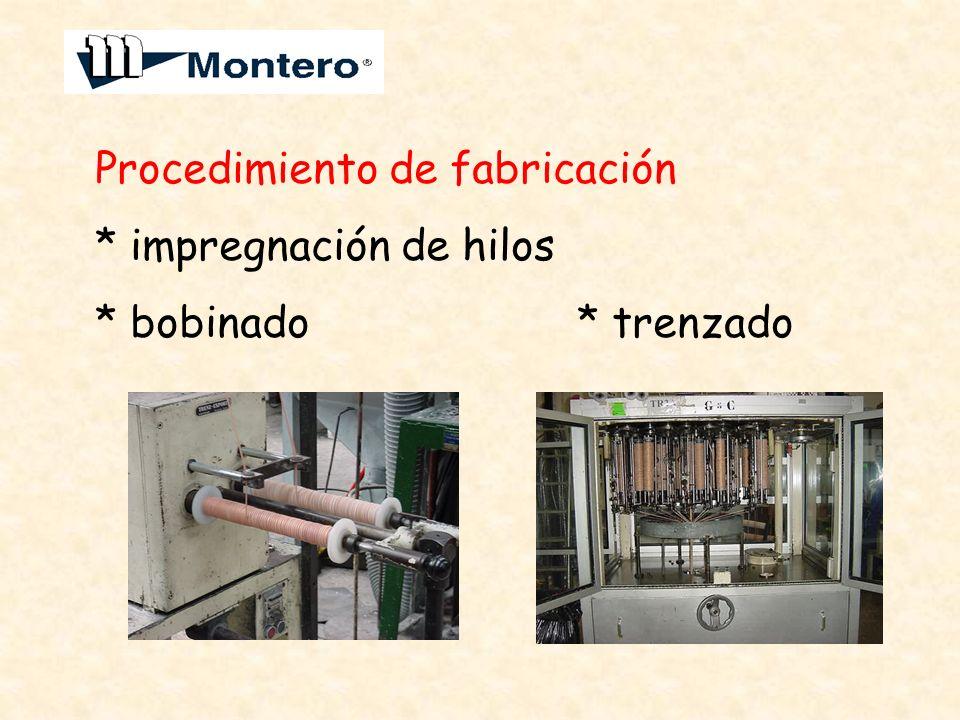 Procedimiento de fabricación * impregnación de hilos * bobinado * trenzado