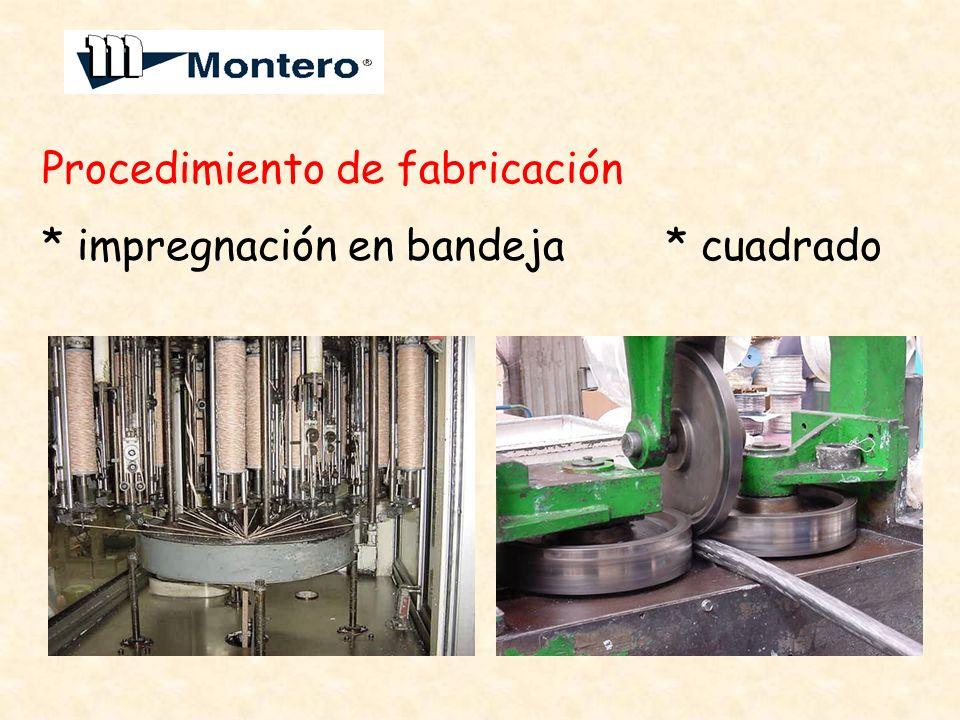 Procedimiento de fabricación * impregnación en bandeja * cuadrado