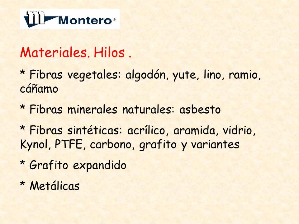 Materiales. Hilos. * Fibras vegetales: algodón, yute, lino, ramio, cáñamo * Fibras minerales naturales: asbesto * Fibras sintéticas: acrílico, aramida