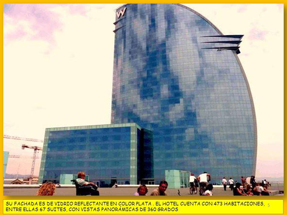 SU FACHADA ES DE VIDRIO REFLECTANTE EN COLOR PLATA. EL HOTEL CUENTA CON 473 HABITACIONES, ENTRE ELLAS 67 SUITES, CON VISTAS PANORÁMICAS DE 360 GRADOS
