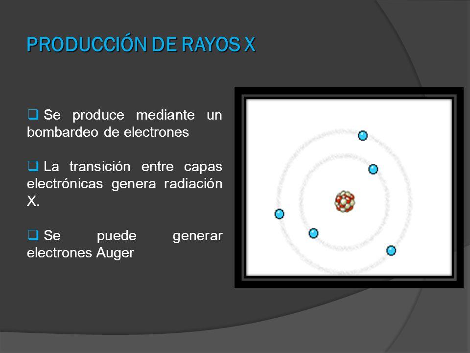 PRODUCCIÓN DE RAYOS X Se produce mediante un bombardeo de electrones La transición entre capas electrónicas genera radiación X. Se puede generar elect