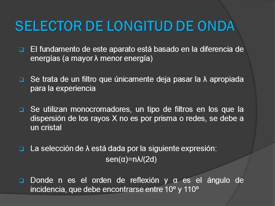 SELECTOR DE LONGITUD DE ONDA El fundamento de este aparato está basado en la diferencia de energías (a mayor λ menor energía) Se trata de un filtro qu
