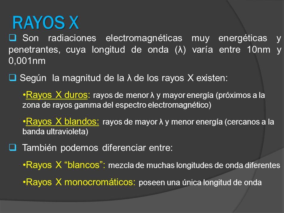 RAYOS X Son radiaciones electromagnéticas muy energéticas y penetrantes, cuya longitud de onda (λ) varía entre 10nm y 0,001nm Según la magnitud de la