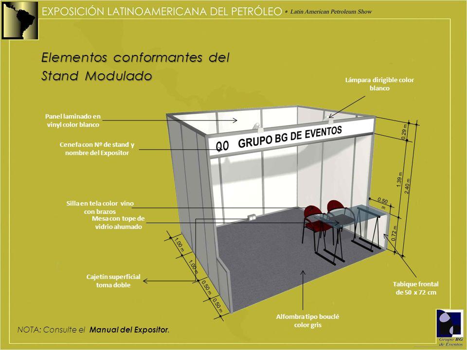 Elementos conformantes del Stand Modulado NOTA: Consulte el Manual del Expositor. 1.00 m 0.50 m 1.00 m Panel laminado en vinyl color blanco Lámpara di