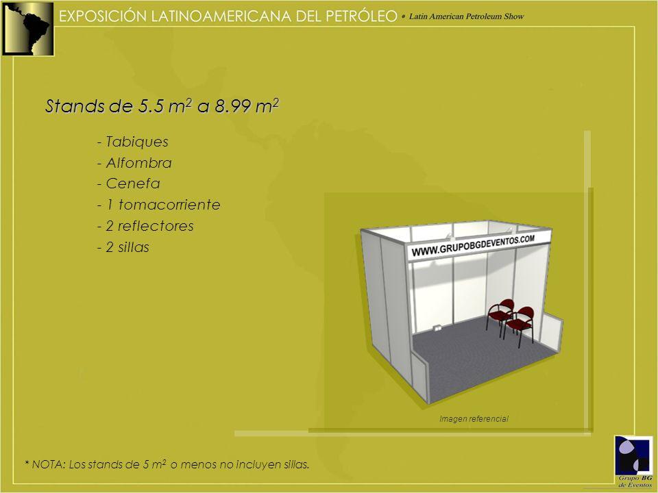 Stands de 5.5 m 2 a 8.99 m 2 - Tabiques - Alfombra - Cenefa - 1 tomacorriente - 2 reflectores - 2 sillas Imagen referencial * NOTA: Los stands de 5 m 2 o menos no incluyen sillas.