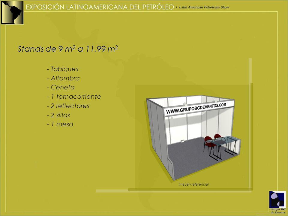 Stands de 9 m 2 a 11.99 m 2 - Tabiques - Alfombra - Cenefa - 1 tomacorriente - 2 reflectores - 2 sillas - 1 mesa Imagen referencial