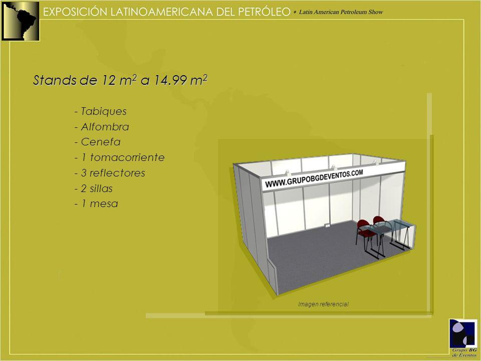 Stands de 12 m 2 a 14.99 m 2 - Tabiques - Alfombra - Cenefa - 1 tomacorriente - 3 reflectores - 2 sillas - 1 mesa Imagen referencial
