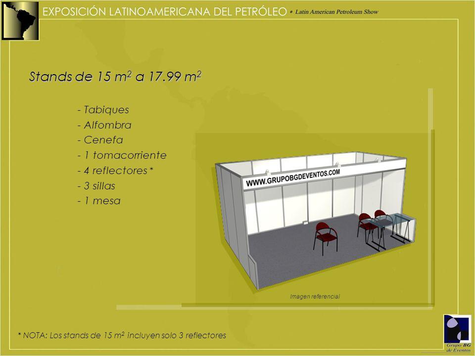 Stands de 15 m 2 a 17.99 m 2 - Tabiques - Alfombra - Cenefa - 1 tomacorriente - 4 reflectores * - 3 sillas - 1 mesa * NOTA: Los stands de 15 m 2 inclu