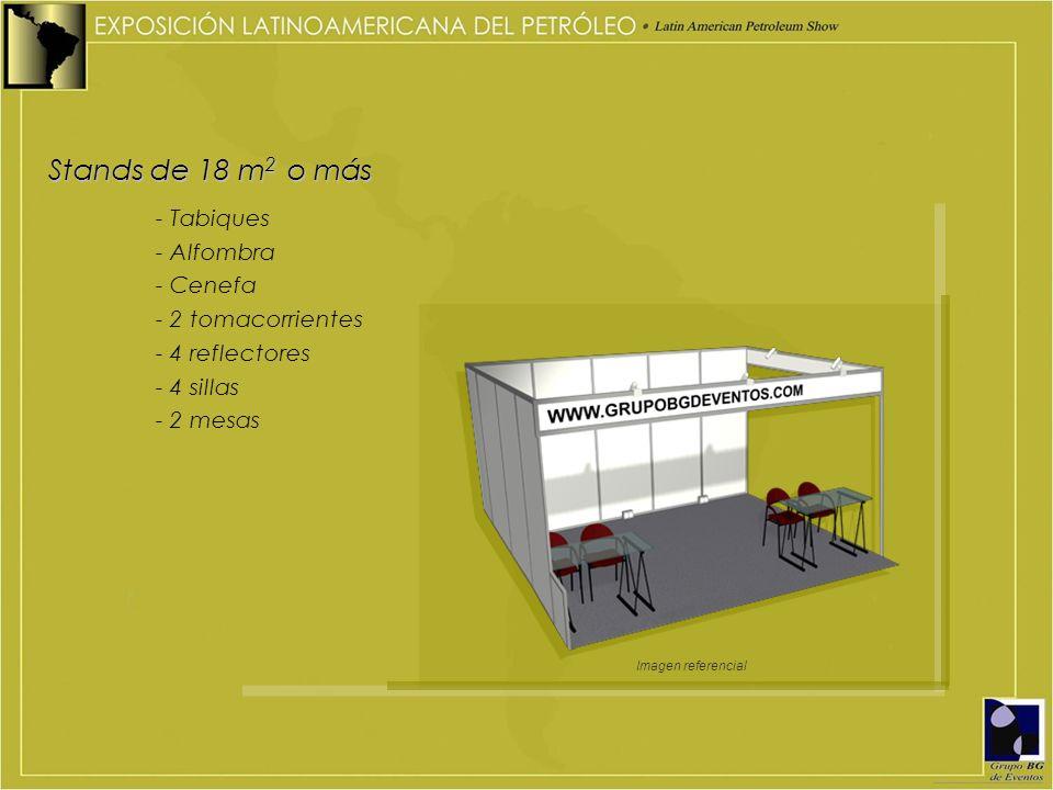 Stands de 18 m 2 o más - Tabiques - Alfombra - Cenefa - 2 tomacorrientes - 4 reflectores - 4 sillas - 2 mesas Imagen referencial