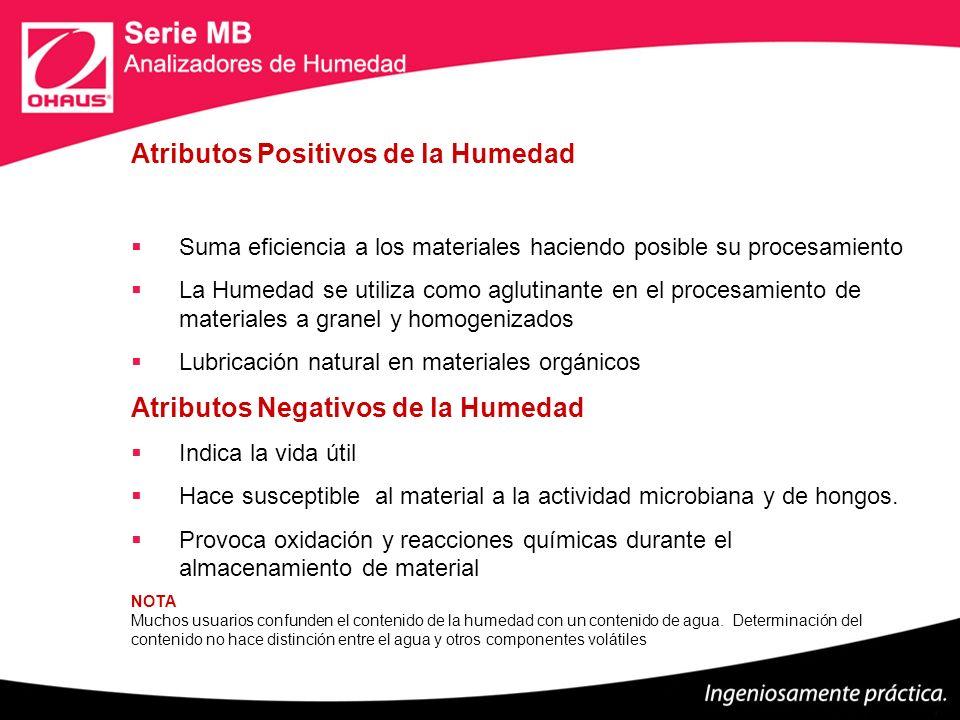Atributos Positivos de la Humedad Suma eficiencia a los materiales haciendo posible su procesamiento La Humedad se utiliza como aglutinante en el proc