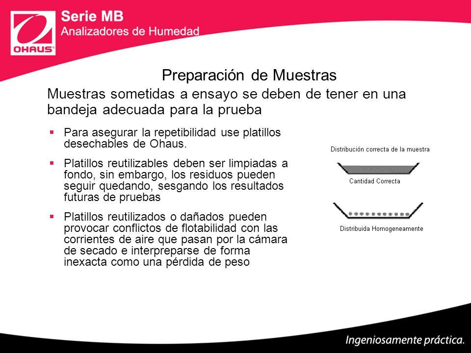 Aplicación de la Muestra para la Prueba Para obtener resultados precisos, la muestra debe ser aplicada de manera uniforme y en una capa delgada Menos muestra es más rápido, mas muestra da una mayor exactitud.
