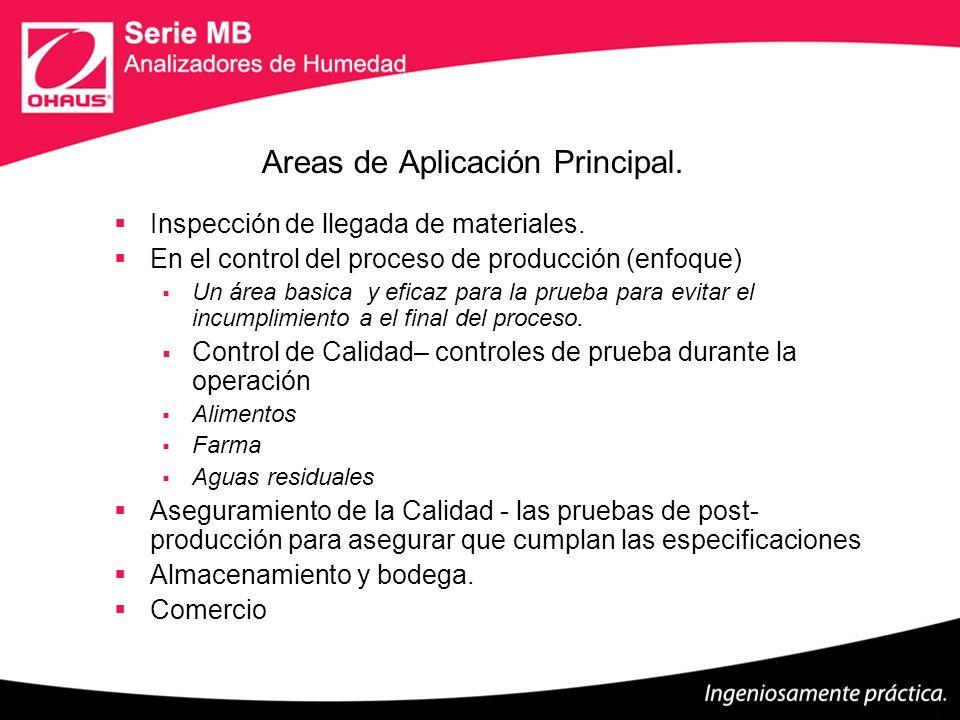 Areas de Aplicación Principal. Inspección de llegada de materiales. En el control del proceso de producción (enfoque) Un área basica y eficaz para la