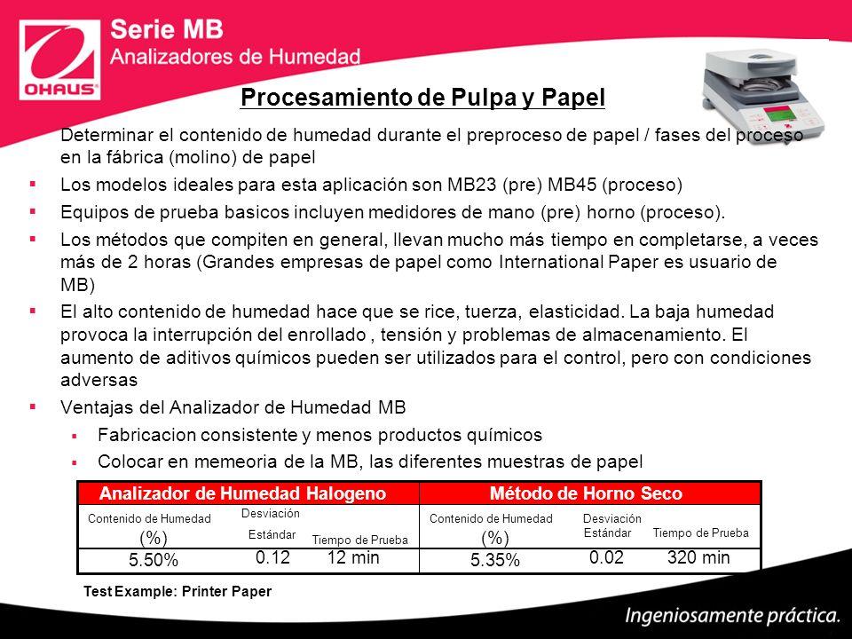 Procesamiento de Pulpa y Papel Determinar el contenido de humedad durante el preproceso de papel / fases del proceso en la fábrica (molino) de papel L