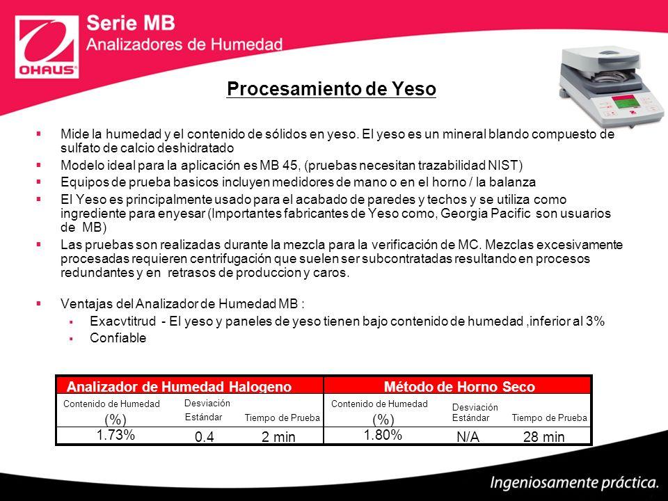 Procesamiento de Yeso Mide la humedad y el contenido de sólidos en yeso. El yeso es un mineral blando compuesto de sulfato de calcio deshidratado Mode