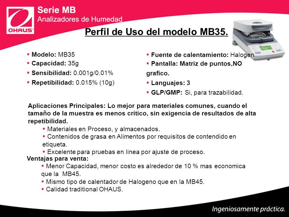 Modelo: MB35 Capacidad: 35g Sensibilidad: 0.001g/0.01% Repetibilidad: 0.015% (10g) Fuente de calentamiento: Halogen Pantalla: Matriz de puntos,NO graf