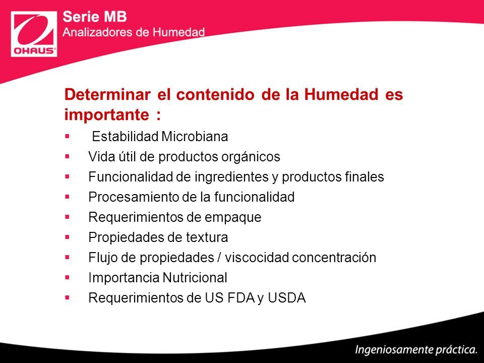 Determinar el contenido de la Humedad es importante : Estabilidad Microbiana Vida útil de productos orgánicos Funcionalidad de ingredientes y producto